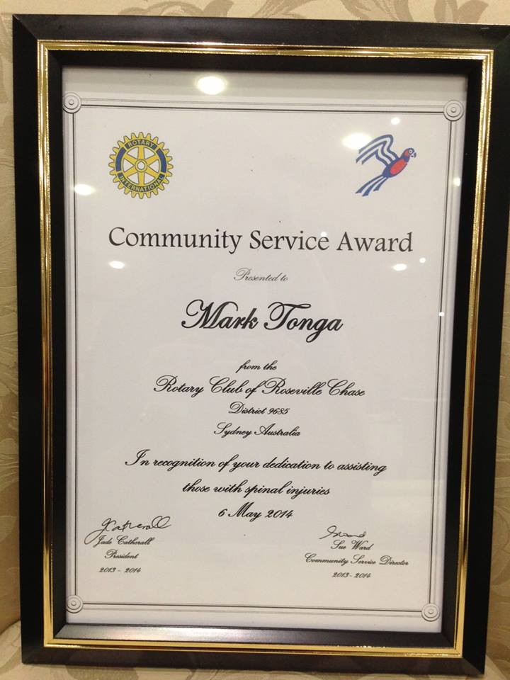 Community Service Award From The Rotary Club Of Roseville